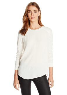Rebecca Taylor Women's Stacy Color Block Crepe and Jersey Top Cream