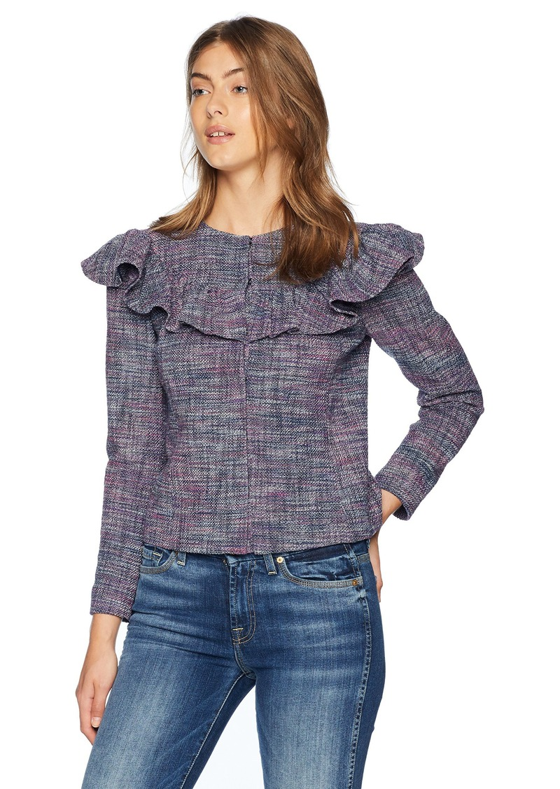Rebecca Taylor Women's Stretch Tweed Ruffle Jacket