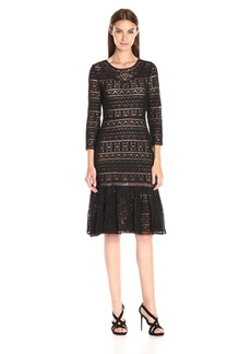 Rebecca Taylor Women's Three-Quarter Sleeve Lace Dress