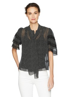 Rebecca Taylor Women's Three-Quarter Sleeve Pebble Print Ruffle Top