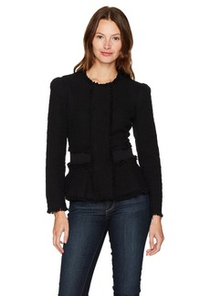 Rebecca Taylor Women's Tweed Jacket with Rib Black