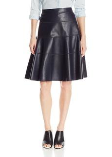Rebecca Taylor Women's Vegan Leather Flounce Skirt