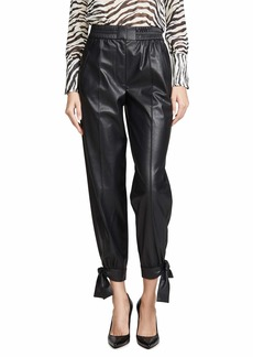 Rebecca Taylor Women's Vegan Leather Pant with Tie on Hemline