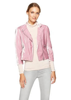 Rebecca Taylor Women's Velvet Moto Jacket Dusty iris