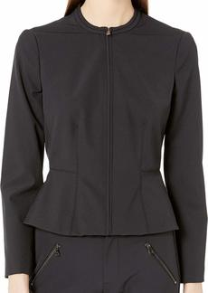 Rebecca Taylor Women's Zip Front Jacket with Peplum Hem