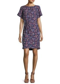 Rebecca Taylor Woodlands Short-Sleeve Floral-Print Dress
