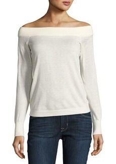Rebecca Taylor Wool-Blend Off-the-Shoulder Sweater