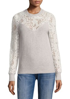 Rebecca Taylor Wool-Blend Lace Pullover