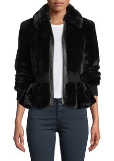 Rebecca Taylor Zip-Front Faux-Fur Peplum Jacket