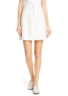 Rebecca Taylor Zip Front Pinstripe Cotton & Linen Skirt
