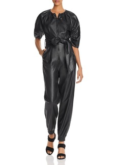 Rebecca Taylor Zip-Front Vegan Leather Jumpsuit