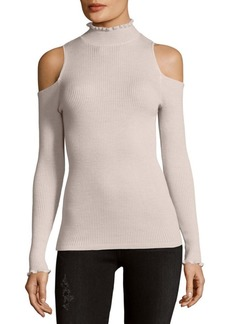 Rebecca Taylor Ribbed Wool Cold Shoulder Top
