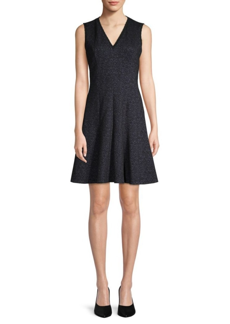 Rebecca Taylor Rose Jacquard Fit-&-Flare Dress