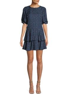 Rebecca Taylor Round-Neck Short-Sleeve Speckled-Dot Silk Mini Dress