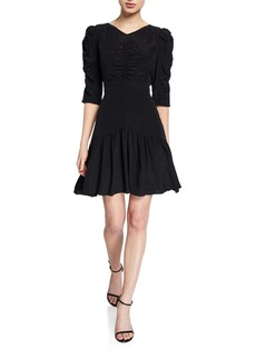 Rebecca Taylor Ruched 3/4-Sleeve Silk Dress