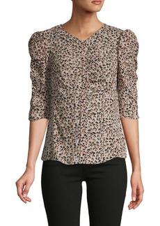 Rebecca Taylor Ruched Leopard-Print Silk Top