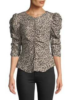 Rebecca Taylor Ruched Puff-Sleeve Leopard-Print Top