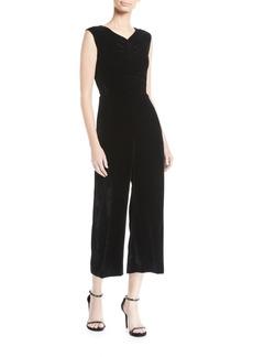 Rebecca Taylor Ruched Velvet Wide-Leg Jumpsuit