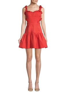 Rebecca Taylor Ruffle Cotton & Linen Blend A-Line Dress
