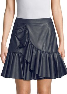 Rebecca Taylor Ruffle Faux Leather Mini Skirt