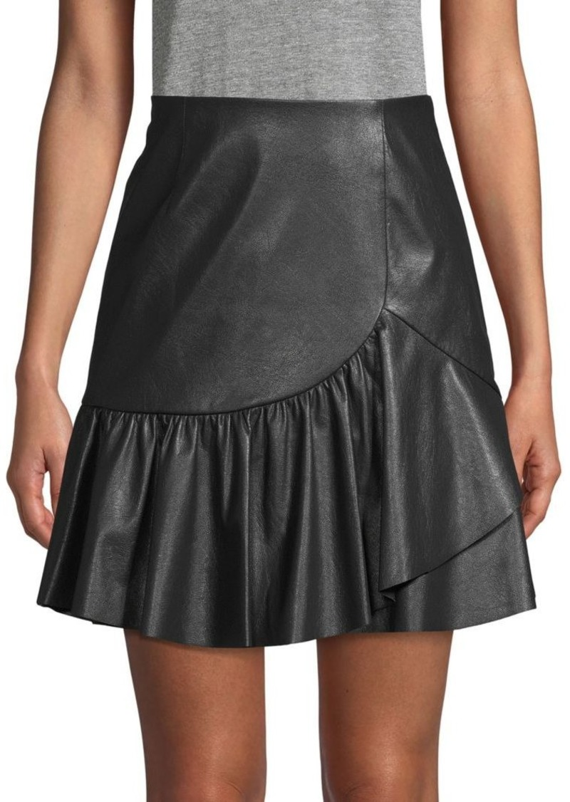 Rebecca Taylor Ruffle Faux Leather Skirt