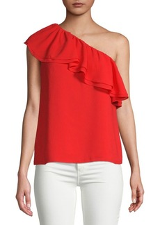 Rebecca Taylor Ruffle One-Shoulder Silk Top