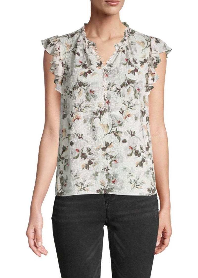 Rebecca Taylor Ruffle-Sleeve Silk-Blend Floral Top