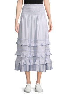 Rebecca Taylor Ruffle-Tiered Cotton A-Line Skirt