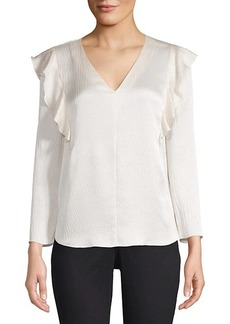 Rebecca Taylor Ruffle Trim Textured Blouse