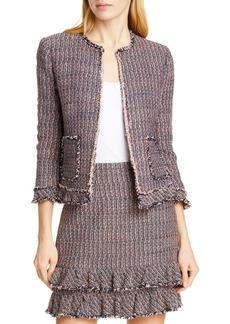 Rebecca Taylor Ruffle Tweed Jacket