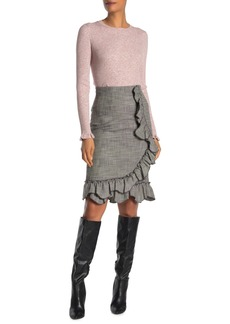 Rebecca Taylor Ruffled Plaid Pencil Skirt