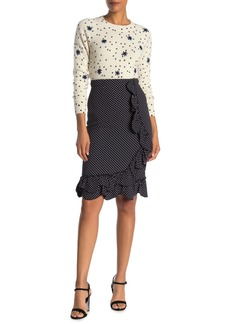 Rebecca Taylor Ruffled Polka Dot Pencil Skirt