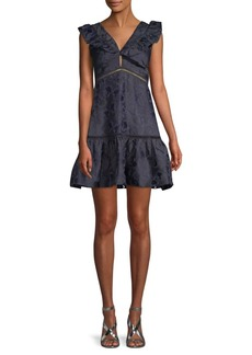 Rebecca Taylor Ruffled Sleeveless A-Line Dress
