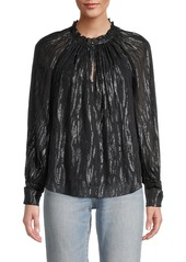 Rebecca Taylor Safari Metallic Silk-Blend Blouse