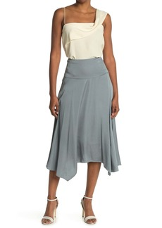 Rebecca Taylor Satin Asymmetrical Midi Skirt