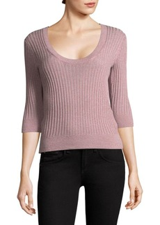 Rebecca Taylor Scoopneck Fitted Metallic Ribbed Top