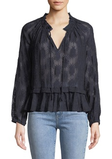 Rebecca Taylor Selina Embroidered Silk Lace Peasant Blouse