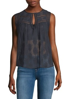 Rebecca Taylor Selina Embroidered Sleeveless Silk Top
