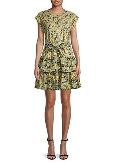 Rebecca Taylor Serena Floral Tiered Mini Dress