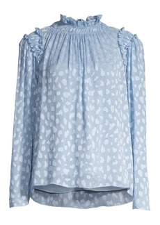 Rebecca Taylor Shirred & Ruffled Print Blouse