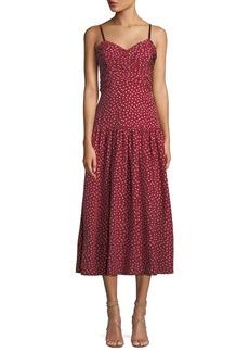 Rebecca Taylor Shirred Heart-Printed Silk Midi Dress