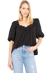Rebecca Taylor Short Sleeve Alicia Embroidery Jersey