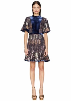 Rebecca Taylor Short Sleeve Clip & Velvet Dress