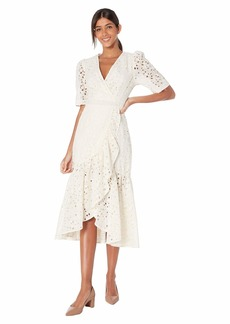 Rebecca Taylor Short Sleeve Clover Embroidered Dress
