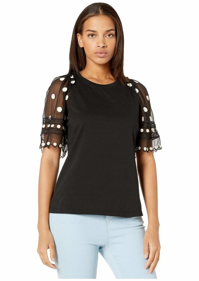 Rebecca Taylor Short Sleeve Dot Embroidered Jersey