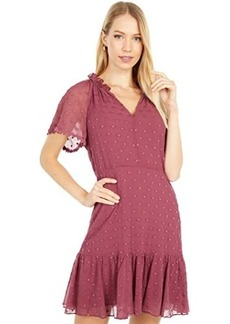 Rebecca Taylor Short Sleeve Dot Embroidery Dress
