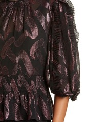 Rebecca Taylor Short Sleeve Lurex Top