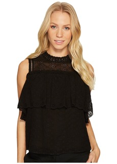 Rebecca Taylor Short Sleeve Open Shoulder Eyelet Top