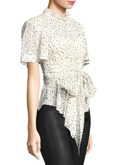 Rebecca Taylor Short-Sleeve Star Tie Top