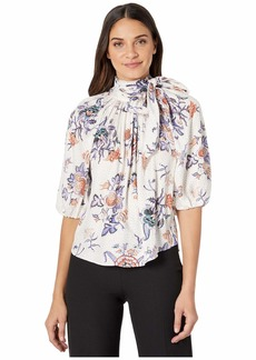 Rebecca Taylor Short Sleeve Toile Tie Top